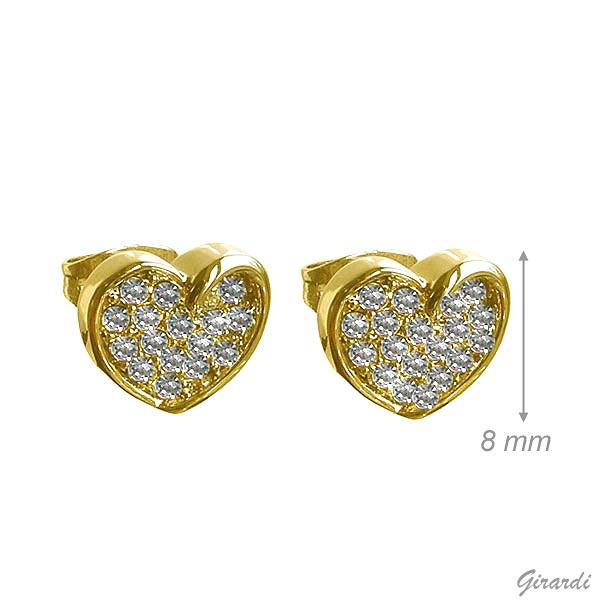 Golden Heart Earrings With White Strass