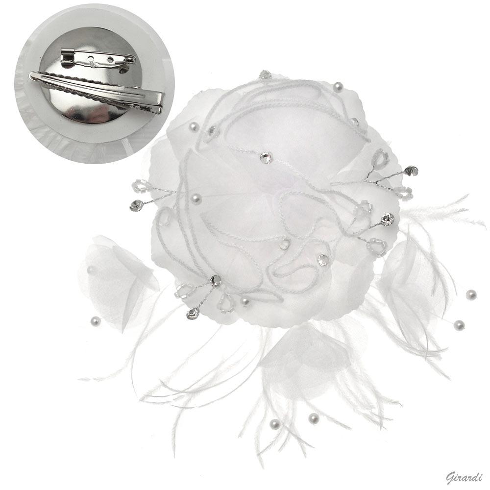 Fermacapelli Becco Fiore Bianco Cristalli e Strass per Acconciatura Sposa 7b957352754e