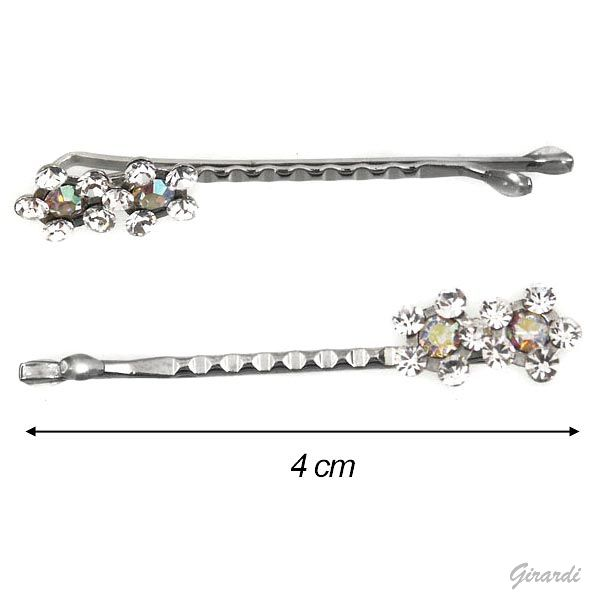 Silver Hair Pin With Two Flowers
