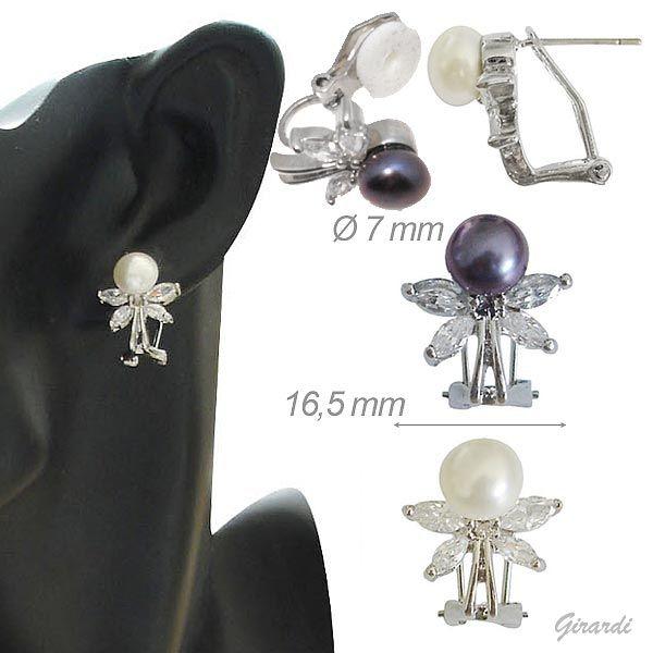 Orecchini Classici Con Perla E Zirconi