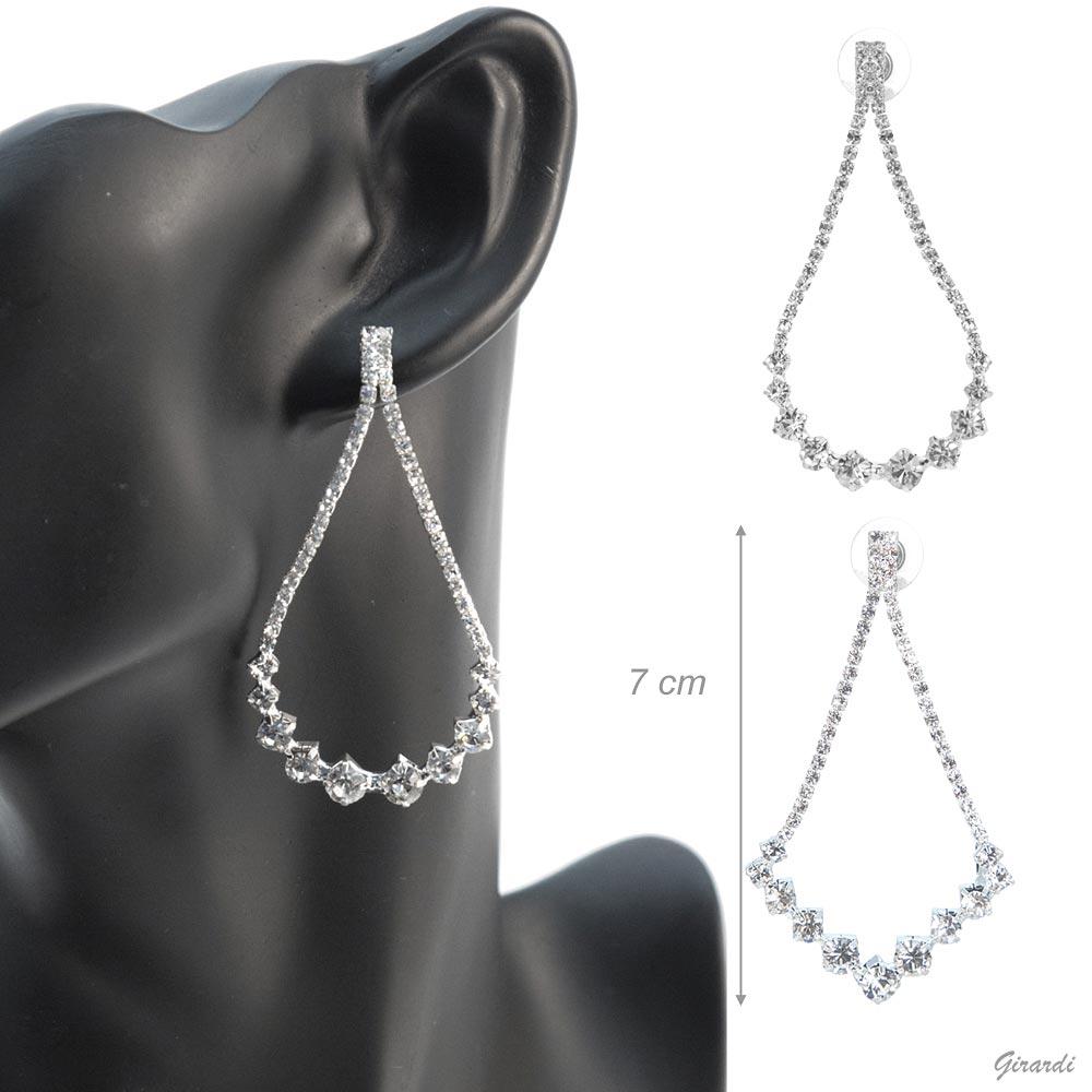 Metal Strass Pendant Earrings