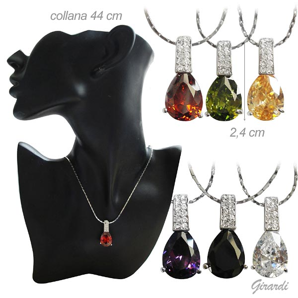 Necklace With Colored Zirconia Pendants And Strass