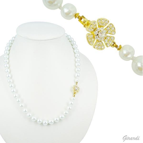 Collana Di Perle Bianche Con Chiusura Di Strass