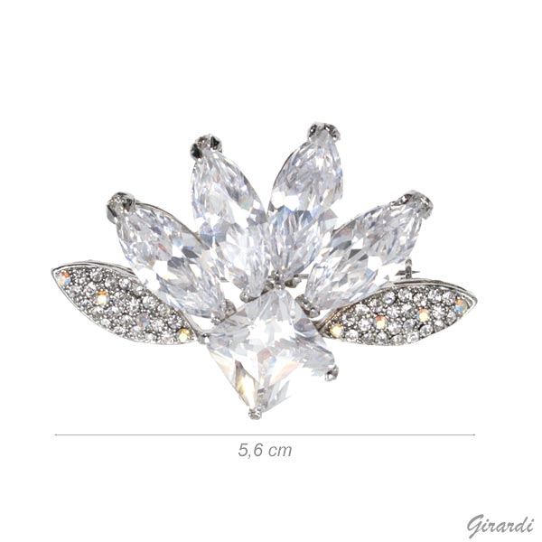 Flower Brooch With White Strass