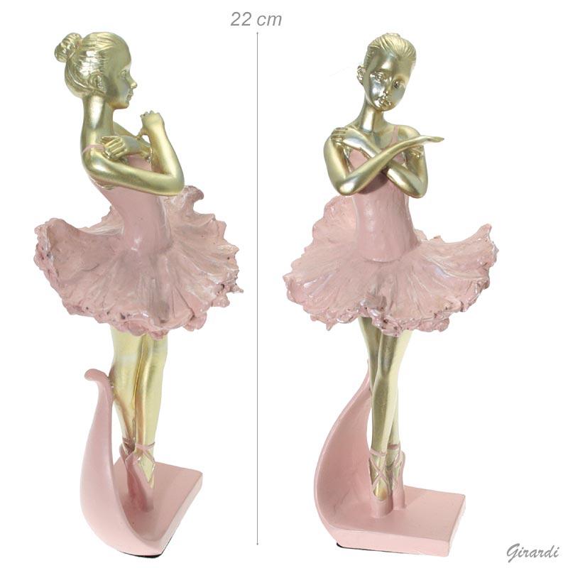 Ballerina Soprammobile Color Oro Abito Rosa