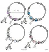 Bracciale Charms Metallo Pattino Rotelle