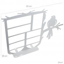 Espositore In Metallo Bianco 53x36cm Uccello Su Ramo - Netto