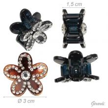 Black Brown Flower Hair Claw With Strass 3 Cm