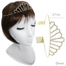 Metal Tiara With White Rhinestones