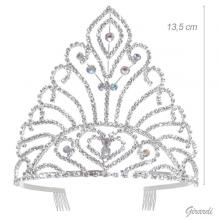 Metal Tiara With White And Borealis Rhinestones