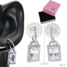 Metal Pendant Earrings Zircon Rectangles