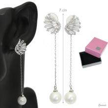 Zircon Earrings And Chain Pendant With Pearl