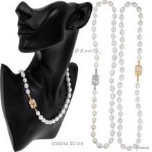 Collana Perle Di Fiume Con Chiusura Gioiello 50 Cm