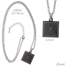 Metal Necklace With Black Steel Prayer Plate