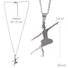 Collana A Catenina Con Ballerina In Acciaio 316l
