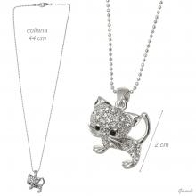 Metal Necklace With Kitten And Strass