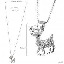Metal Necklace With Strass Reindeer