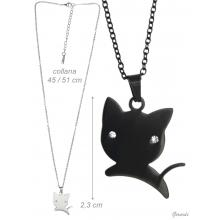 Steel Necklace With Kitten And Zirconia