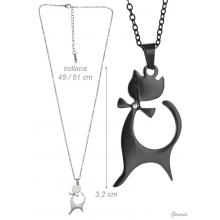 Steel Necklace With Bow And Cat