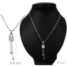 Metal Necklace With Padlock Pendant And White Strass