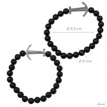 Elastic Bracelet Of Black Pearls With Anchor