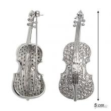 Cello Brooch With White Strass