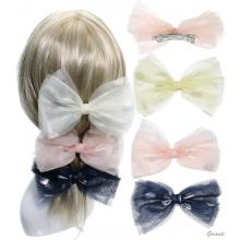 Hair Barrette Clips With Double Polka Dots Bow
