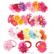 Hair Bobbles For Girl With Flower 24 Pcs Assorted