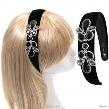 Plastic And Colored Satin Headband With 3 Flowers