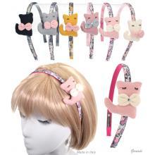 Fabric Headband With Kitten And Rhinestone