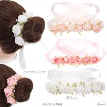 Ribbon Headband With Roses On Lace