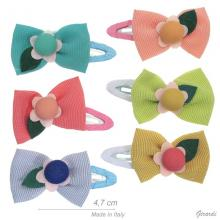 Metal Snap Hair Clips And Fabric Bow