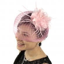 Veil With Crocodile Clip And Headband - Pink Flower And Feathers