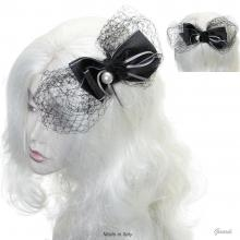 Hair Decoration With Black Ribbon And Veil