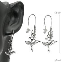 Strass Earrings With Ballerina Pendant