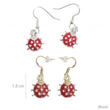 Earrings With Red Ladybird Pendant