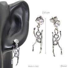 Metel Rhythmics Earrings With Clubs And White Simulated Crystal.