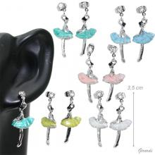 Teardrop Ear Ring With Ballerina And Strass