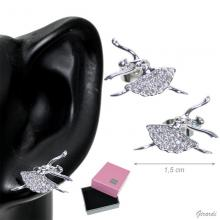 Brass Stud Earring With Ballerina And Zircons