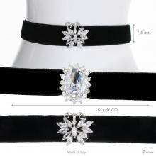 Velvet Collar With Zircon