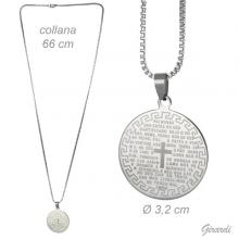 Metal Necklace And Steel Medallion With Prayer