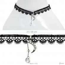 Metal And Black Fabric Necklace With Pendant Of Zirconia