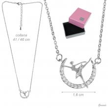 Metal Necklace With Pendant Of Ballerina With Zircons