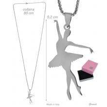 Steel Necklace With Ballerina Croisé