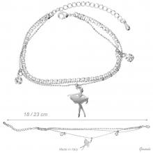 3 Wire Metal Bracelet With Ballerina And Pendant