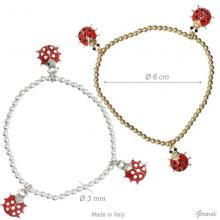 Elastic Bracelet With 3 Ladybirds And Strass