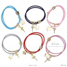 Elastic Bracelet With Metal Star And Pendant Of Ballerina