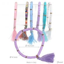 Elastic Bracelet Colored Beads And Tassel