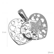 Strass And Zircon Heart Pendant - Net Price