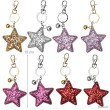 Glittered Star And Bell Keychain